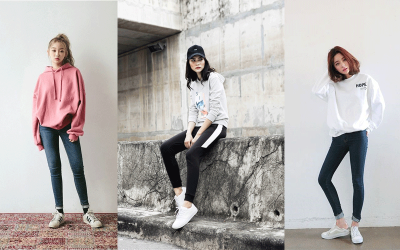 Mix đồ áo hoodie với quần bò trẻ trung, năng động
