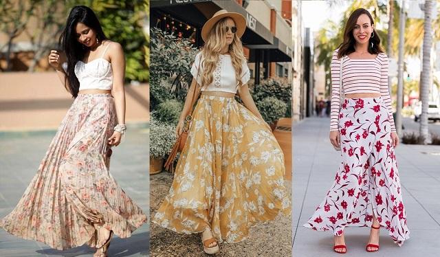 Chân váy hoa kết hợp cùng áo croptop